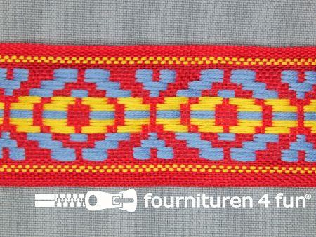 Indianenband 35mm rood - blauw - geel