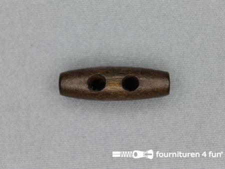Houtje touwtje knoop 30mm donker hout