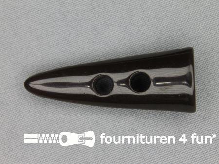 Houtje touwtje knoop 47mm kunststof donker bruin