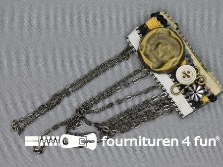 Kiltspeld corsage 60mm ketting brons