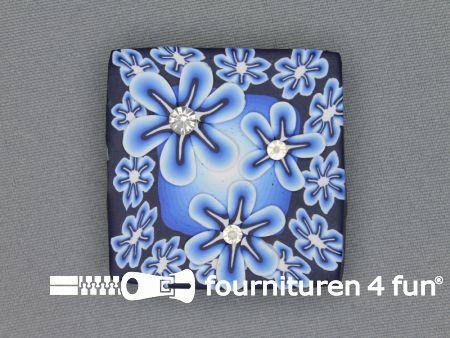 Trendy broche 45mm vierkant hemels blauw