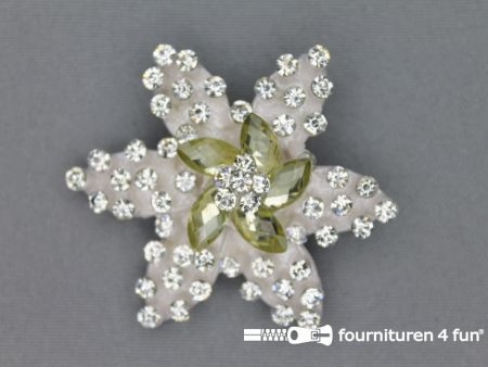 Strass broche 55mm ster zilver