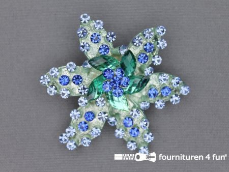 Strass broche 55mm ster blauw
