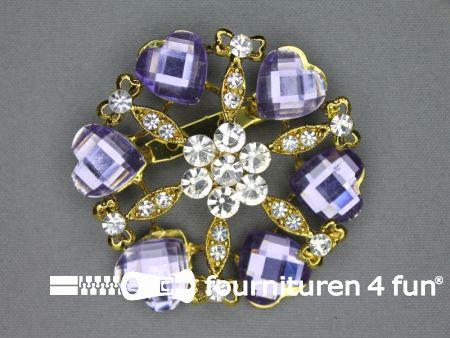 Strass broche 60mm hartjes lila