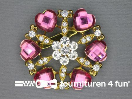 Strass broche 60mm hartjes barbie roze