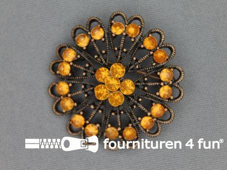 Strass broche 37mm brons - oranje geel