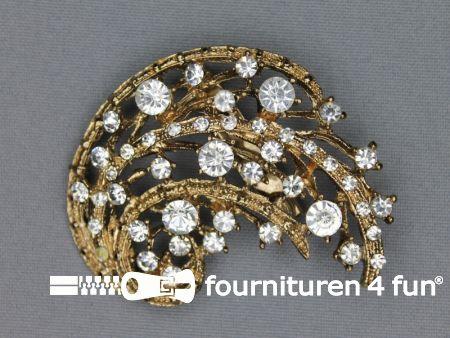 Strass broche 55mm goud - zilver
