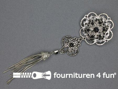 Strass corsage 150x42mm kwast zilver - zwart