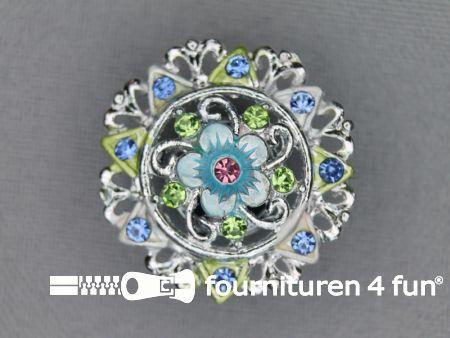 Strass stenen knoop 25mm bloem zilver - blauw