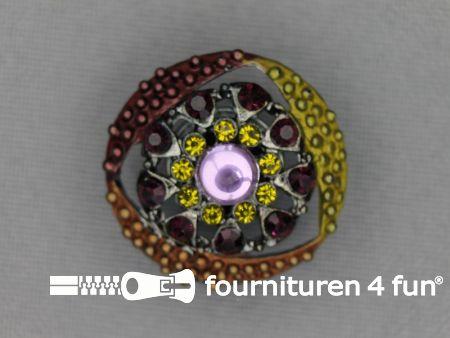 Strass stenen knoop 23mm bloem bruin - groen