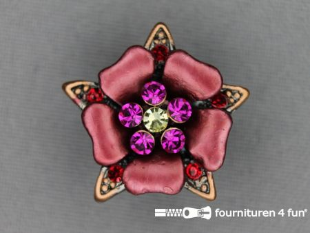 Strass stenen knoop 26mm bloem koraal - brons