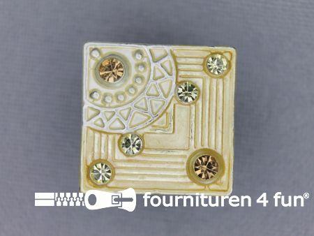 Strass stenen knoop 19mm vierkant beige