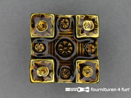 Strass stenen knoop 20mm vierkant geel - donker bruin