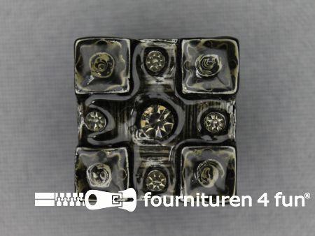 Strass stenen knoop 20mm vierkant donker grijs