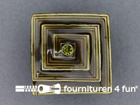 Strass stenen knoop 22mm vierkant bruin