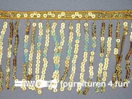 Pailletten franje 150mm goud