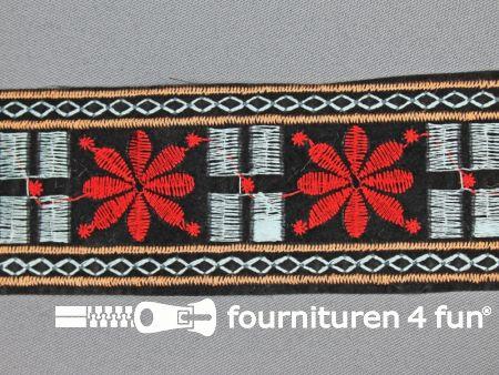 Jacquard band 45mm zwart - rood