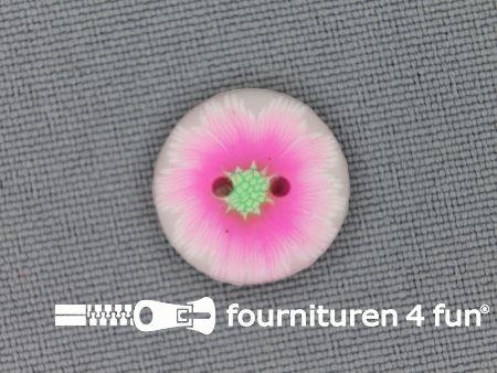 Ibiza knoop 15mm wit - neon roze - groen