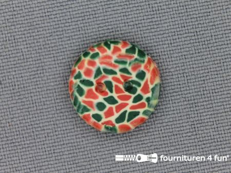 Ibiza knoop 15mm groen - oranje rood - ecru