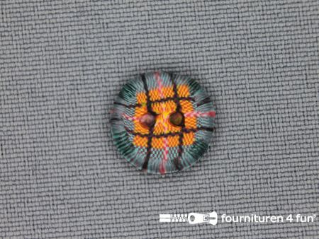 Ibiza knoop 13mm groen - oranje - bruin