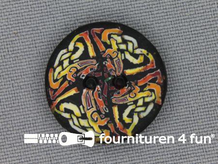 Ibiza knoop 21mm bruin - zwart - geel