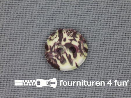 Ibiza knoop 13mm bruin - ecru