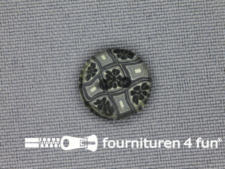 Ibiza knoop 13mm grijs - antraciet - wit