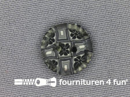 Ibiza knoop 15mm grijs - antraciet - wit