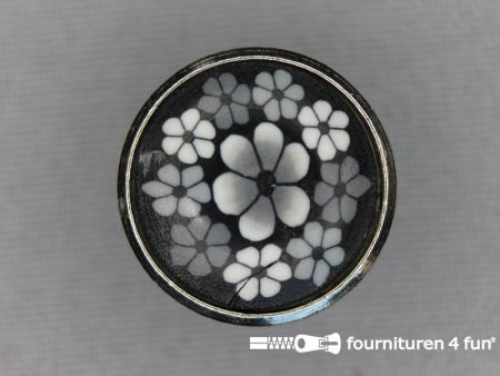 Metalen ibiza knoop 20mm bloem grijs