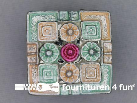 Strass stenen knoop 22mm vierkant antique groen - zalm