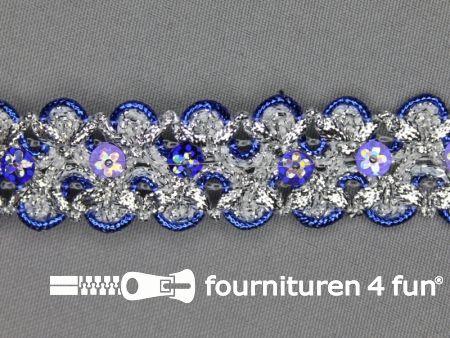 Pailletten band 25mm zilver - kobalt blauw