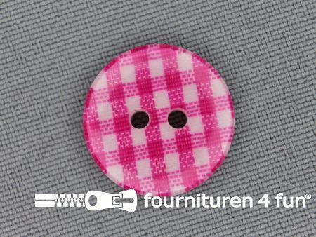 Ruitjes knoop 18mm fuchsia roze