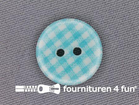 Ruitjes knoop 18mm aqua blauw