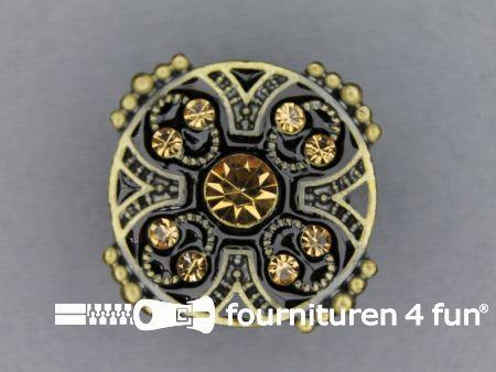Strass stenen knoop 26mm geelbrons-zwart