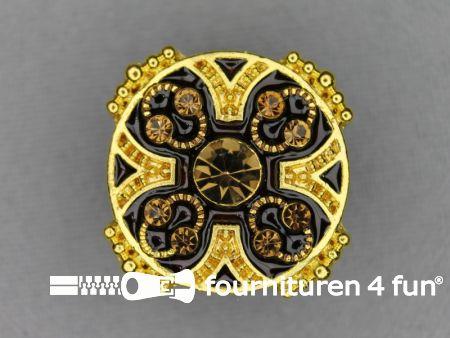 Strass stenen knoop 26mm rond goud - zwart