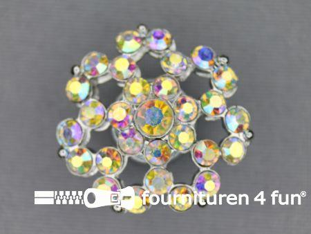 Strass stenen knoop 26mm bloem parelmoer