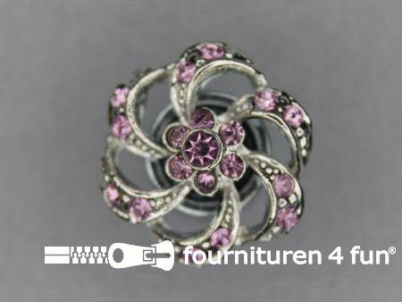 Strass stenen knoop 20mm bloem licht roze