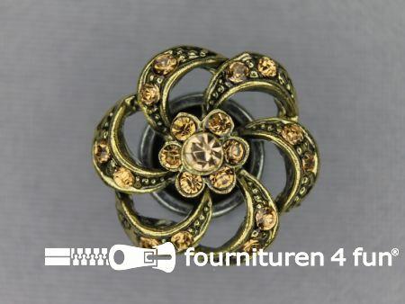 Strass stenen knoop 20mm bloem brons