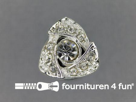 Strass stenen knoop 14mm driehoek zilver