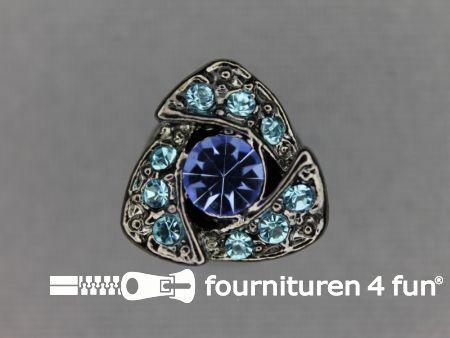 Strass stenen knoop 14mm driehoek blauw