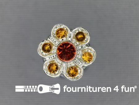 Strass stenen knoop 13mm bloem oranje-goud