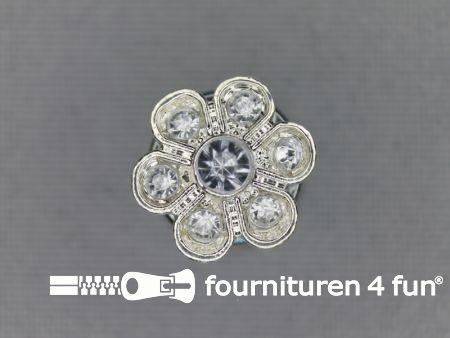 Strass stenen knoop 13mm bloem zilver
