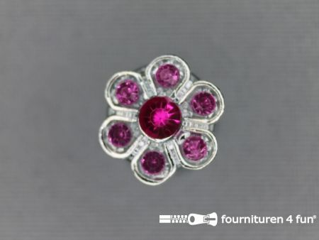 Strass stenen knoop 13mm bloem fuchsia roze