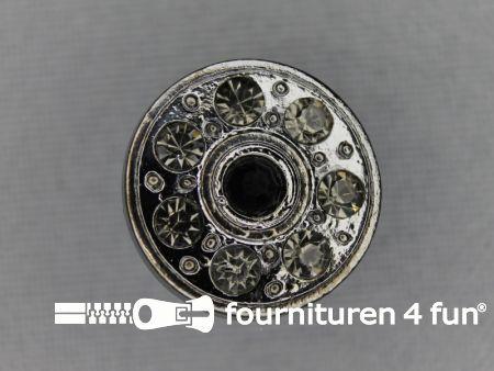Strass stenen knoop 18mm rond zwart zilver