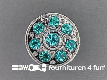 Strass stenen knoop 18mm rond aqua blauw