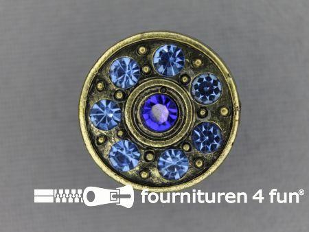 Strass stenen knoop 18mm rond kobalt blauw