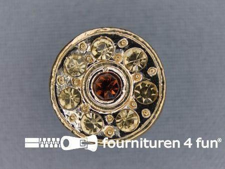 Strass stenen knoop 18mm rond goud bruin