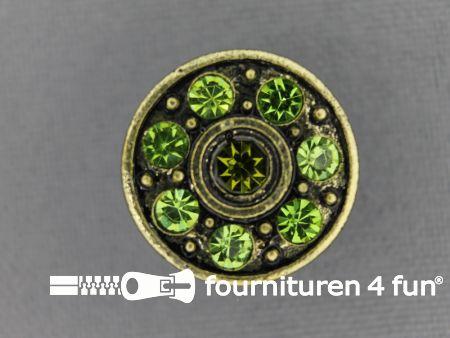 Strass stenen knoop 18mm rond groen