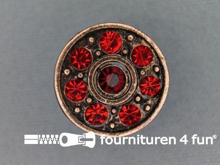 Strass stenen knoop 18mm rond bordeaux rood