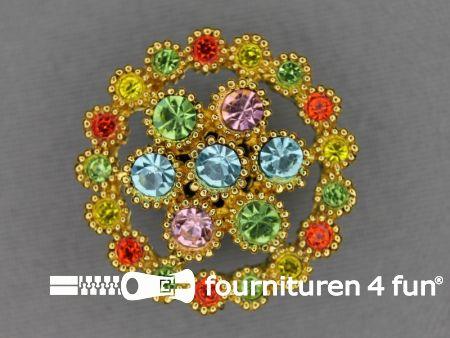 Strass stenen knoop 29mm multicolor